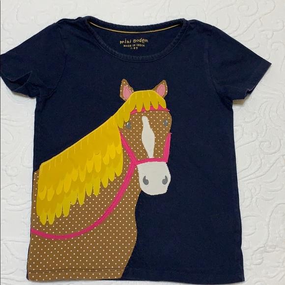 NEW Mini Boden Unicorn Applique Sequin Detailed Navy top t-shirt  7//8 yr